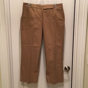 "Nearly New Express ""Editor"" Tan Cotton Capris"